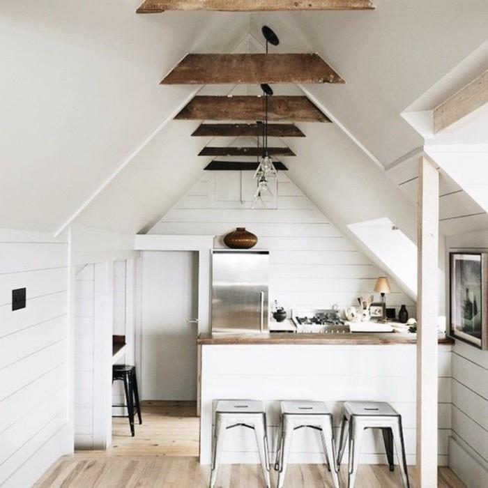 Dachgeschosswohnung kücheneinrichtung dachschräge deko ideen küche23