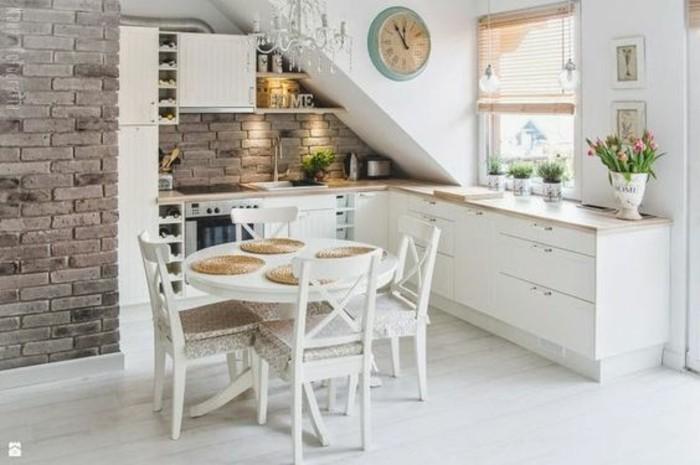 Dachgeschosswohnung Kücheneinrichtung Dachschräge Deko Ideen Küche27