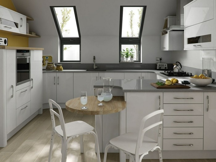 Dachgeschosswohnung kücheneinrichtung mansarde dachschräge deko ideen küche3