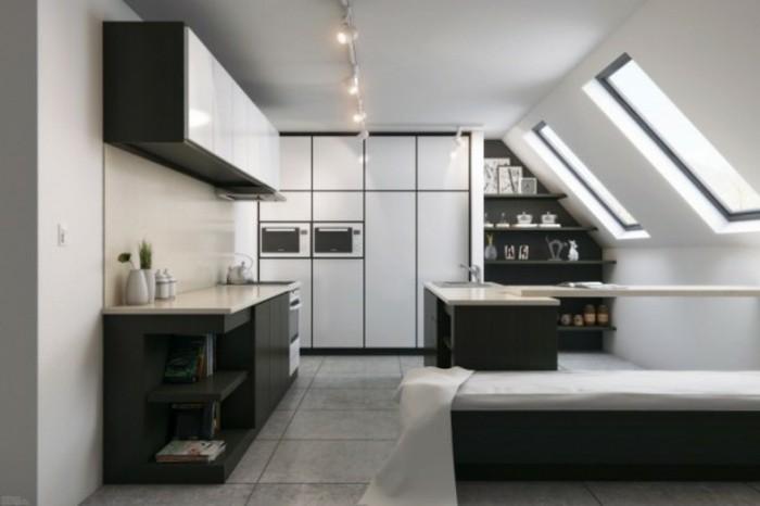 Dachgeschosswohnung kücheneinrichtung dachschräge deko ideen küche30