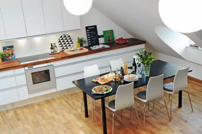 Dachgeschosswohnung kücheneinrichtung dachschräge deko ideen küche32