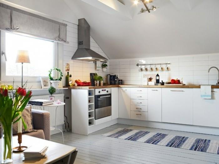 Dachgeschosswohnung kücheneinrichtung dachschräge deko ideen küche34