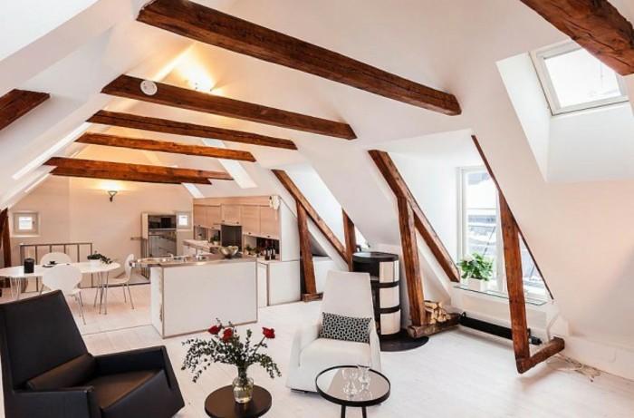 Dachgeschosswohnung kücheneinrichtung dachschräge deko ideen küche36