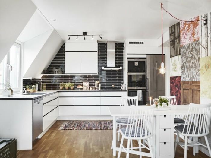 Dachgeschosswohnung kücheneinrichtung dachschräge deko ideen küche37