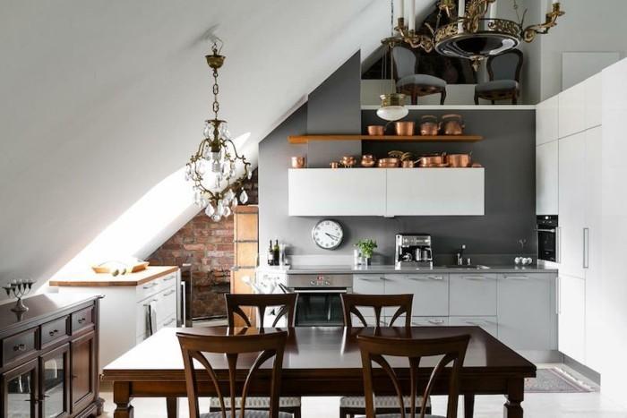 Dachgeschosswohnung kücheneinrichtung mansarde dachschräge deko ideen küche38