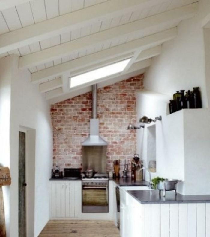 Dachgeschosswohnung kücheneinrichtung dachschräge deko ideen küche39