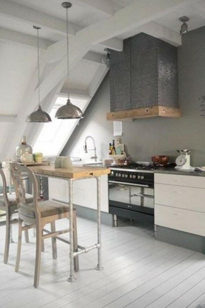 Dachgeschosswohnung kücheneinrichtung dachschräge deko ideen küche40