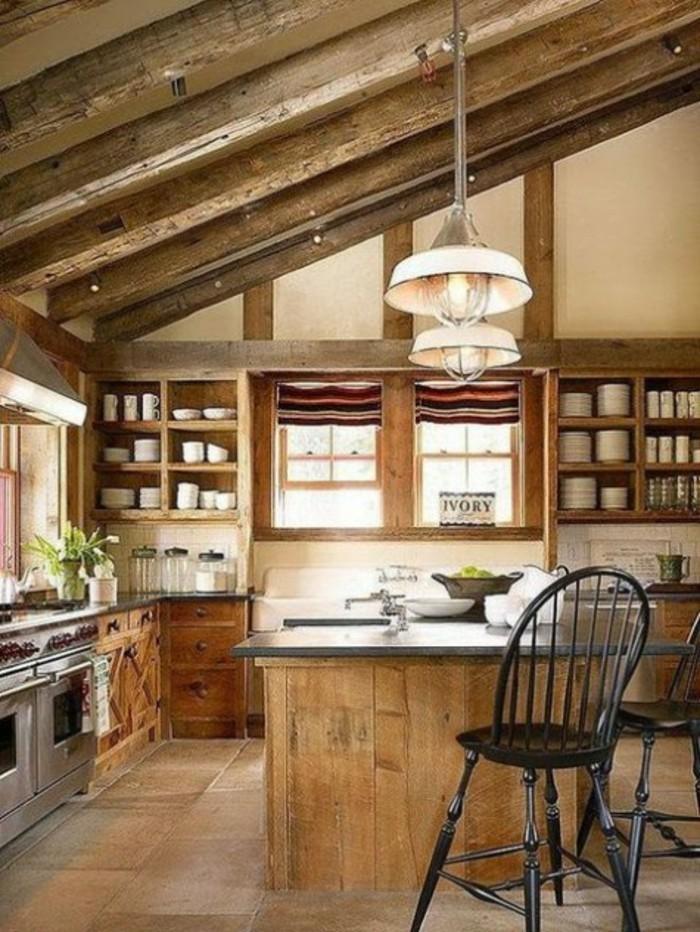 Dachgeschosswohnung kücheneinrichtung dachschräge deko ideen küche41