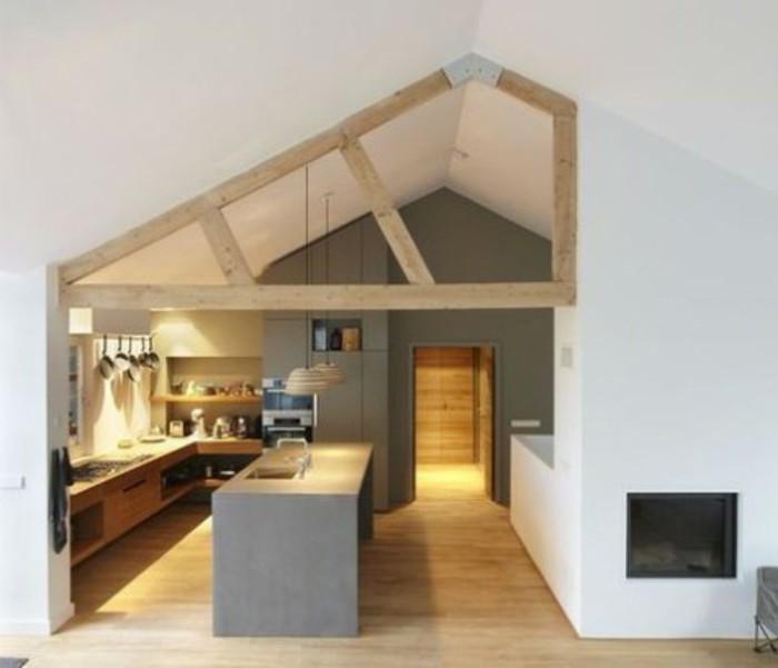 Dachgeschosswohnung kücheneinrichtung dachschräge deko ideen küche44