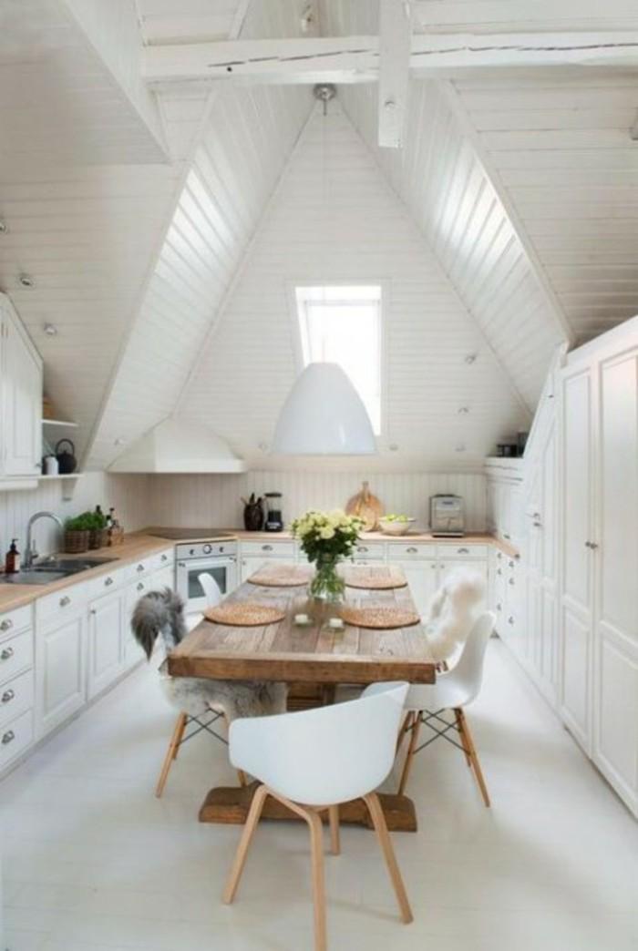 Dachgeschosswohnung kücheneinrichtung dachschräge deko ideen küche45