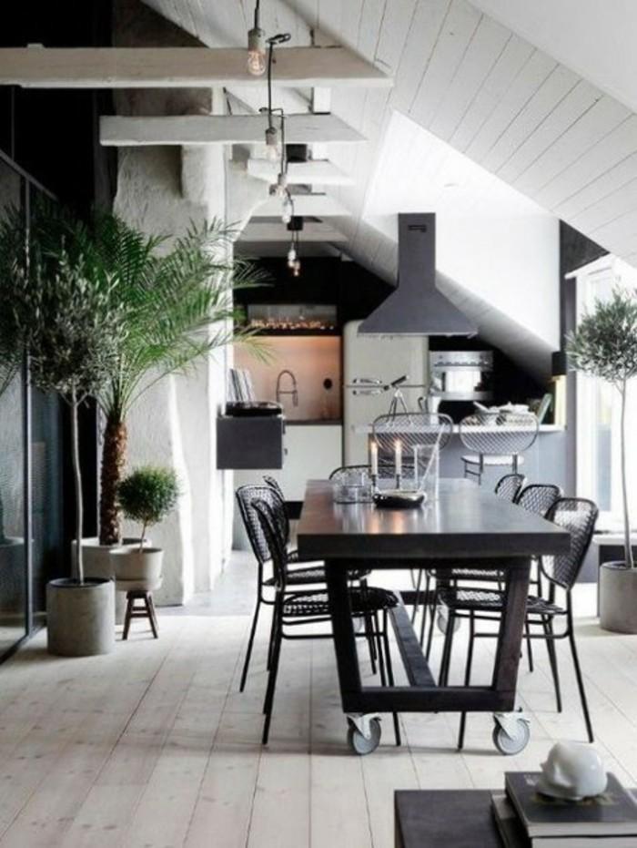 Dachgeschosswohnung kücheneinrichtung dachschräge deko ideen küche47