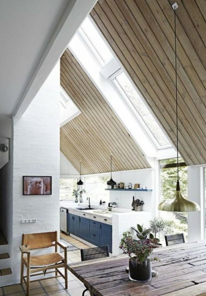 Dachgeschosswohnung kücheneinrichtung dachschräge deko ideen küche48