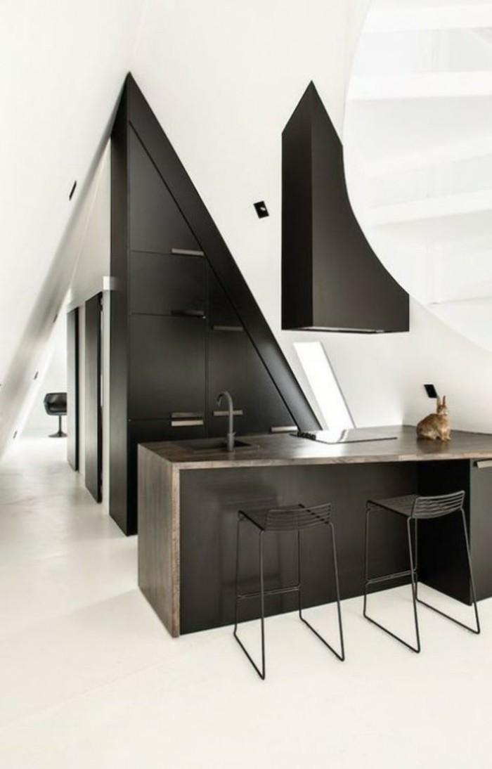 kücheneinrichtung dachschräge deko ideen küche49