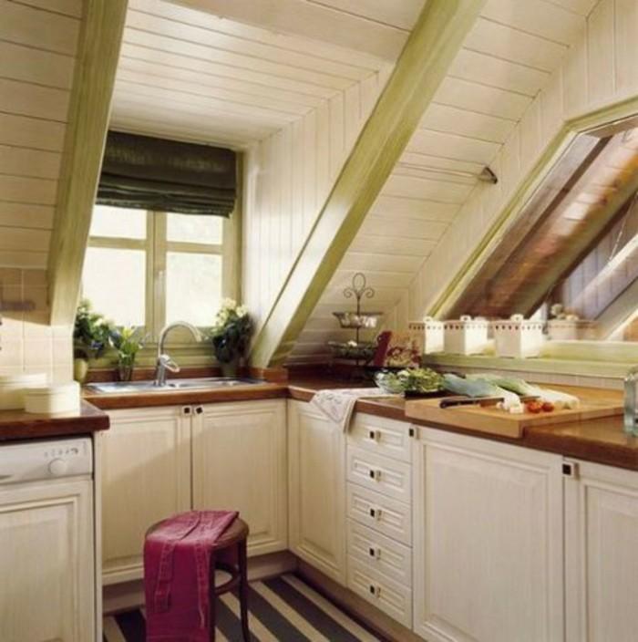 Dachgeschosswohnung kücheneinrichtung dachschräge deko ideen küche51