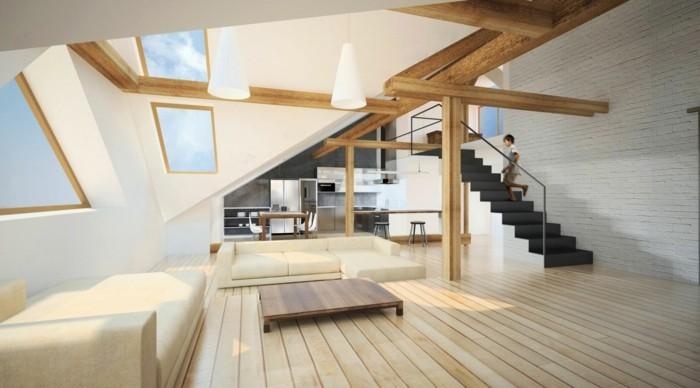 Dachgeschosswohnung kücheneinrichtung mansarde dachschräge deko ideen küche7