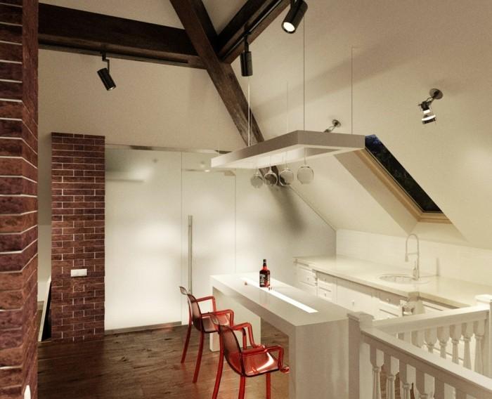 Dachgeschosswohnung kücheneinrichtung mansarde dachschräge deko ideen küche8