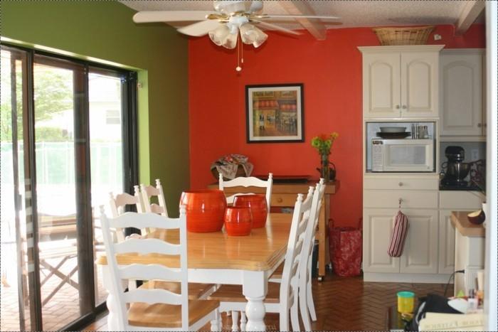 küchendesign in rot und grün küche im landhausstil
