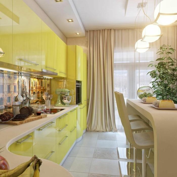 küchenkauf gelbe küchenschränke lange gardinen