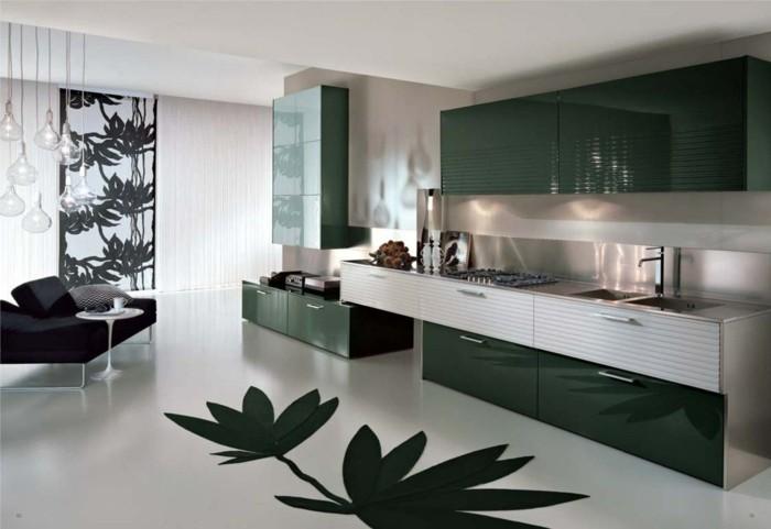 küchenkauf grüne akzente blätter moderner bodenbelag