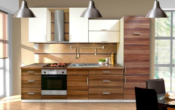 küchenkauf schöne holztextur hängelampen essbereich