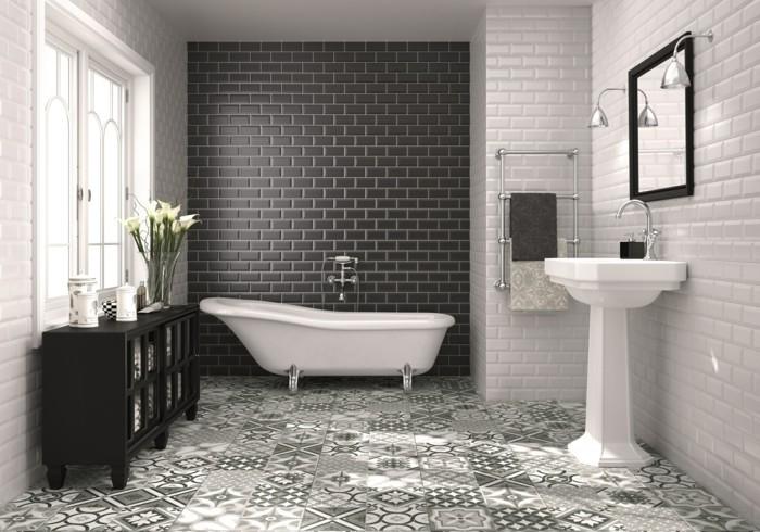 keramikfliesen badezimmer krakelee technik weiß schwarz schöner bodenbelag