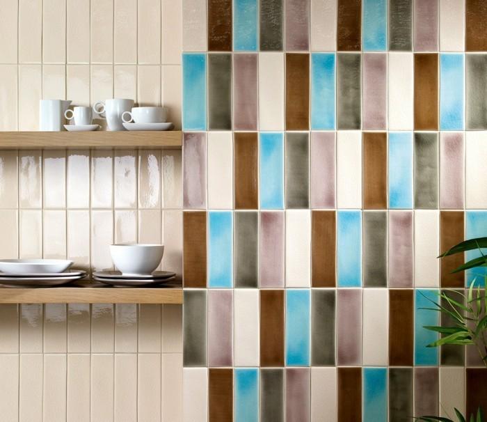 keramikfliesen design farbig dekoideen wanddesign