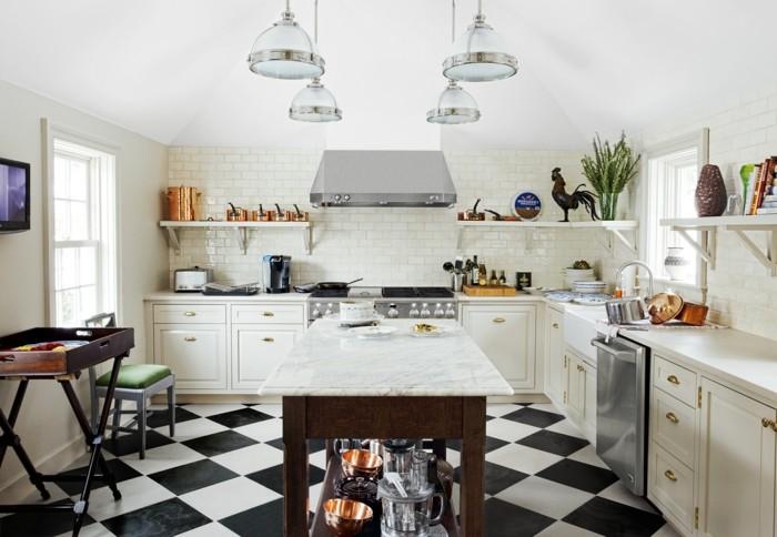 keramikfliesen küche metro wandfliesen bodenbelag weiß schwarz