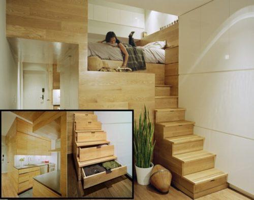 kleine-wohnung-einrichten-einzimmerwohnung-schlafzimmer-hochbett-holzbtreppe-stauraum