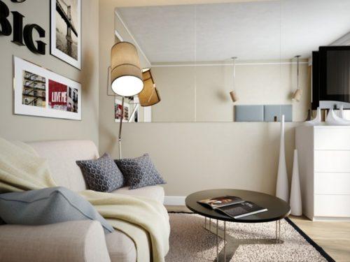 kleine-wohnung-einrichten-runder-couchtisch-sofa-wandspiegel