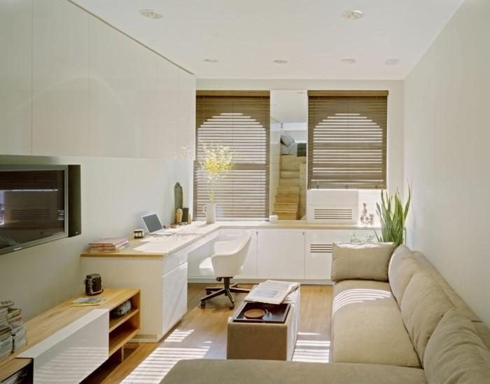 kleine wohnung einrichten wohnzimmer arbeitsplatz couchtisch sofa - Einrichtung Kleine Wohnung