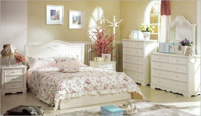 landhausstil französischer stil schlafzimmer blumenmuster