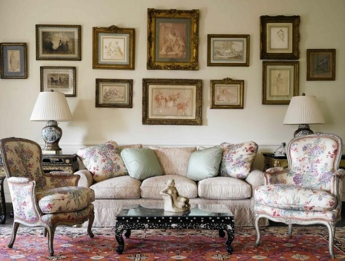Der franz sische landhausstil 33 einrichtungsbeispiele for Wandbilder wohnzimmer landhausstil