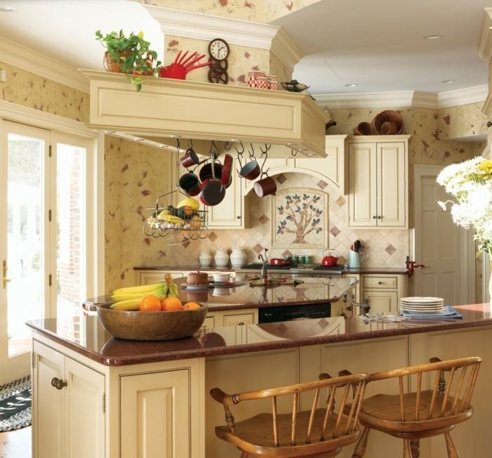 landhausstil küche einrichten einbauleuchten früchte blumen