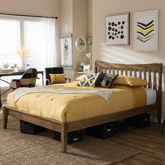 massivholzbett betten schlafzimmer einrichten teppich