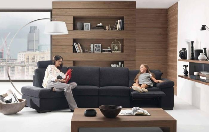Natrlich Wohnen Wohnideen Wohnzimmer Holzmbel Dunkelgraues Sofa