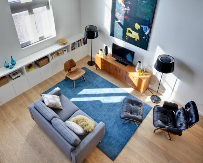 wohnzimmer einrichten ideen naturlich wohnen wohnzimmer einrichten blauer teppich weise wande