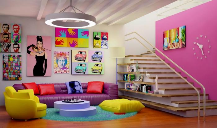 pop art merkmale einrichtungsbeispiele wohnideen deko ideen wohnzimmer wandgestaltung2