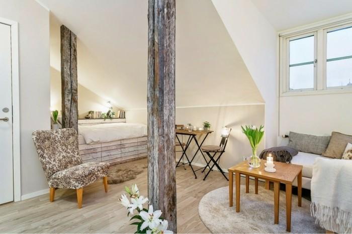 runde teppiche inneneinrichtung ideen wohnzimmer holzakzente blumendeko