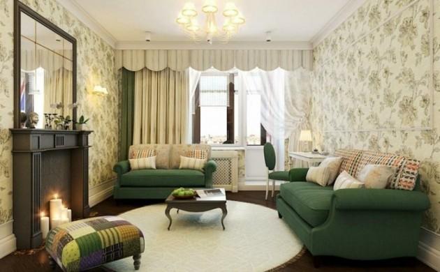 runde-teppiche-wohnzimmer-einrichten-grune-sofas-kerzen-schone-wandtapete