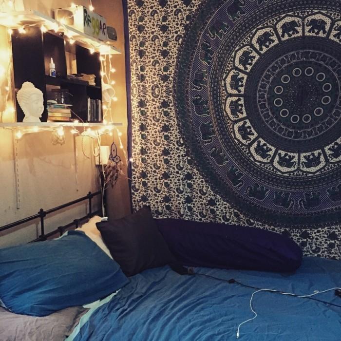 schlafzimmer gestalten einrichtungsbeispiele wohnideen deko ideen wandteppich