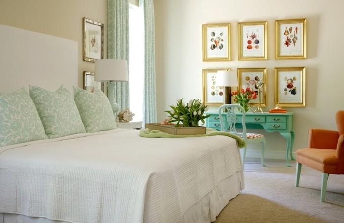 schlafzimmer gestalten schminktisch pflanzen teppichboden