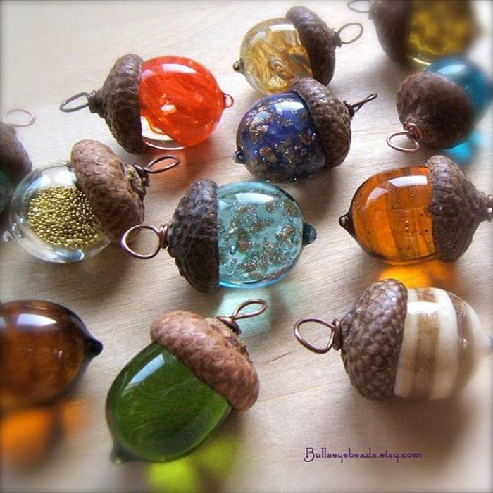 schmuckanhanger buntes glas eichel handmade schumck buntes glas