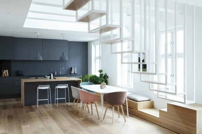 skandinavisch einrichten graue küchenschranke holzboden