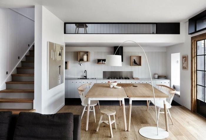 skandinavisch einrichten küche holzboden offener wohnplan