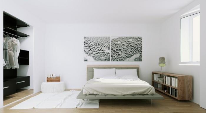 skandinavisch einrichten schlafzimmer gestalten wanddeko weißer teppich