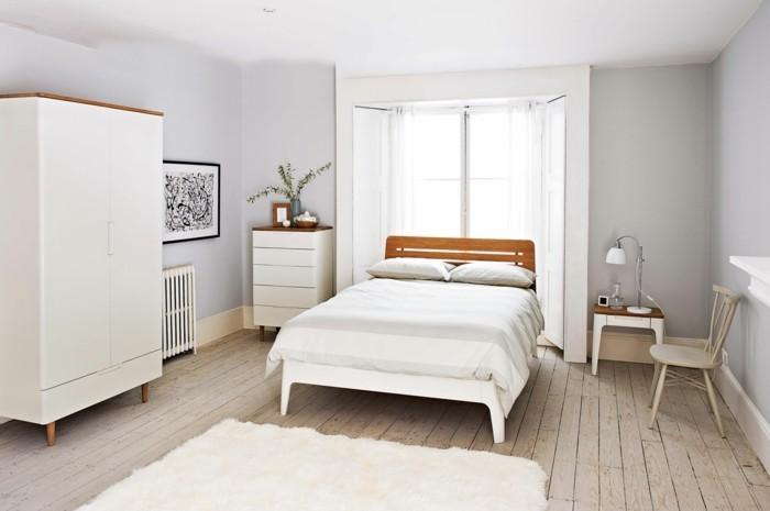 skandinavisch einrichten schlafzimmer ideen weißer teppich holzboden
