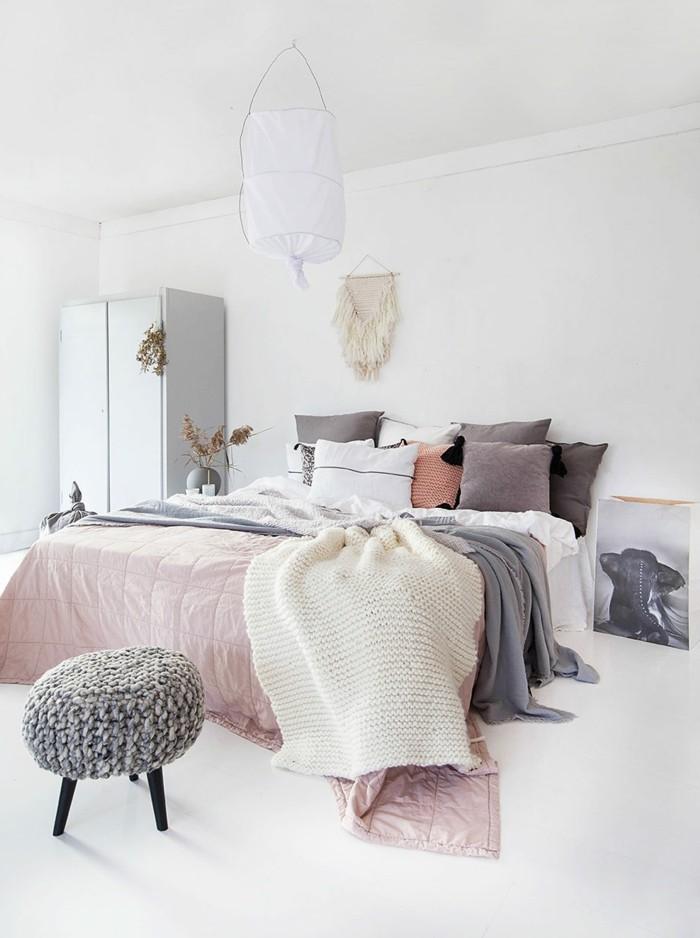 skandinavisch einrichten schlafzimmer pastellfarben weißer boden