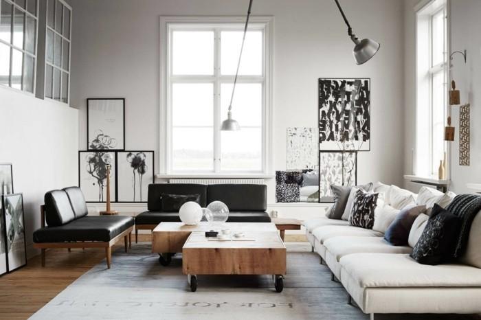 skandinavisch einrichten wohnideen wohnzimmer helle wände wandbilder