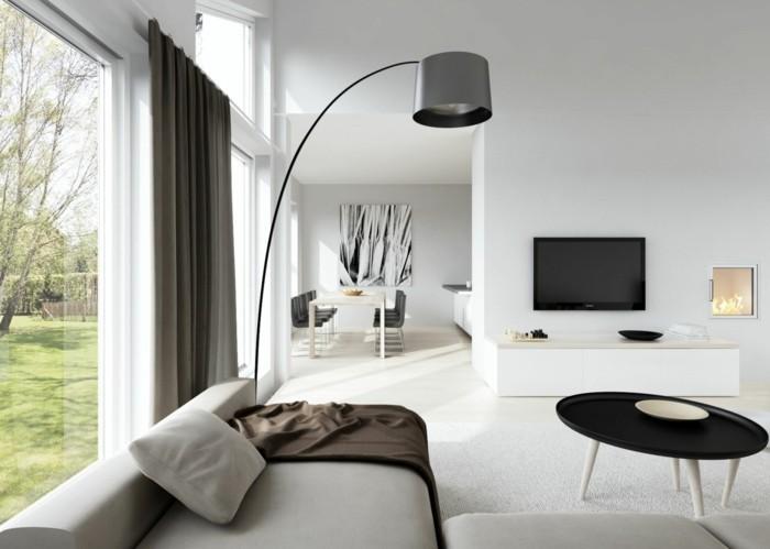 skandinavisch einrichten wohnzimmer ideen schicke möbel braune gardinen
