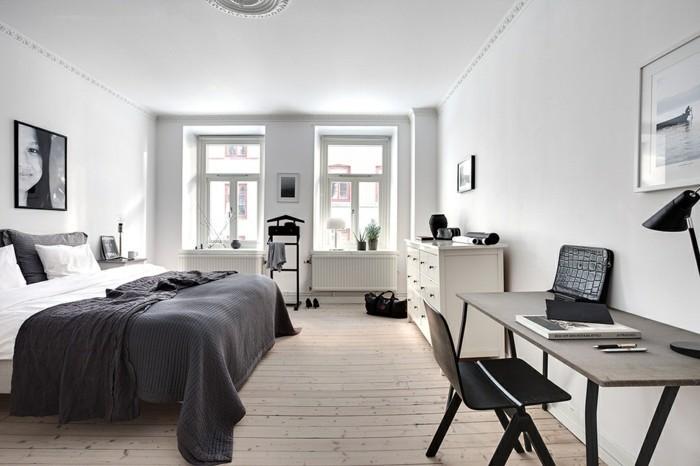 skandinavisch wohnen holzboden weiße wände elegante bettwäsche